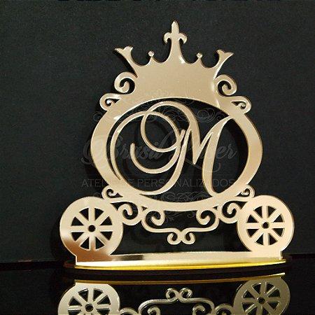 Topo de Bolo Carruagem Princesa (Personalizado com Inicial ou Idade que o Cliente Desejar) - TBV 01055A