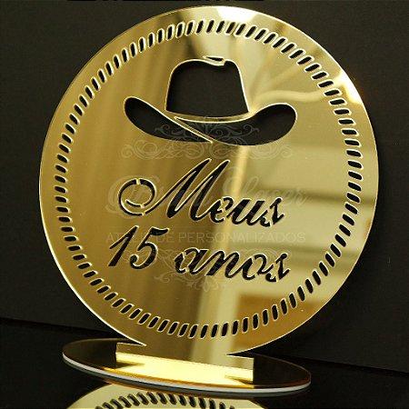 Topo de Bolo Country Chapéu Cowboy (Personalizado com Iniciais e/ou Idade que o Cliente Desejar) - TBV 01069A