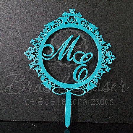 Topo de Bolo Brasão e Infinito (Personalizado com Iniciais que o Cliente Desejar) - TBB 00101C