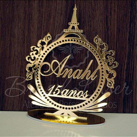 Topo de Bolo Brasão Paris França (Personalizado com Nome e Idade que o Cliente Desejar) - TBB 00103B