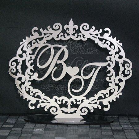 Topo de Bolo Brasão (Personalizado com Iniciais que o Cliente Desejar) - TBB 00110B