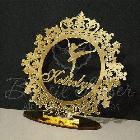 Topo de Bolo Brasão com Bailarina (Personalizado com Nome que o Cliente Desejar) - TBB 00123B