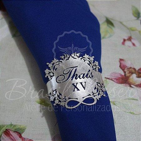 1 Porta Guardanapo em Courvin Floral com o Nome e Idade que desejar Debutante XV 15 anos - #Quant.Mínima: 10 unidades iguais# PGC 03027A