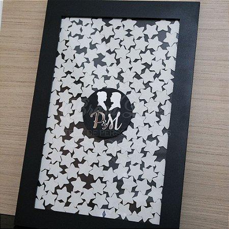Quadro de Assinaturas Casal Homem e Mulher Pintado com Acrílico Espelhado Personalizado com as Iniciais do Casal - QAV 01001A