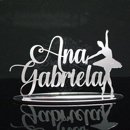 Topo de Bolo Bailarina (Personalizado com Nome Debutante XV 15 Anos ou Aniversariante que o Cliente Desejar) - TBV 01021B