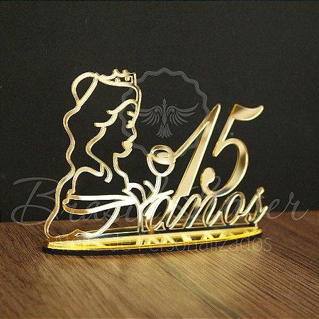 Topo de Bolo Princesa com Rosa (Personalizado com a Idade que o Cliente Desejar) - TBV 01045D