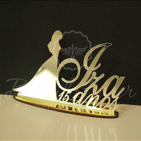 Topo de Bolo Princesa Noiva (Personalizado com Nome e Idade da Debutante XV 15 Anos que o Cliente Desejar) - TBV 01084A