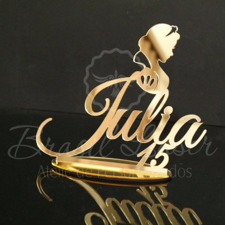 Topo de Bolo Princesa (Personalizado com Nome da Debutante XV 15 Anos ou Aniversariante que o Cliente Desejar) - TBV 01085A