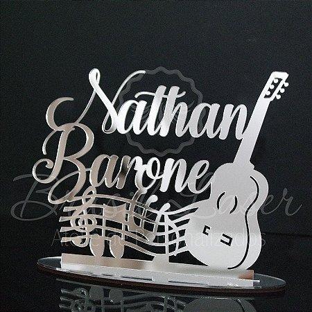 Topo de Bolo Violão Notas Musicais (Personalizado com o Nome que o Cliente Desejar) - TBV 01093A