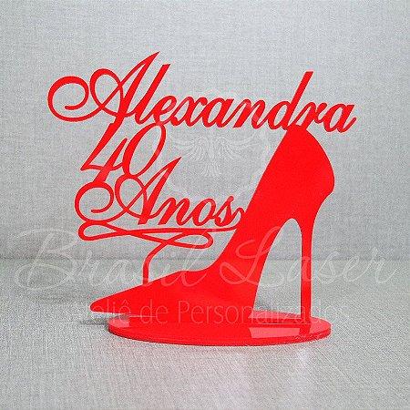 Topo de Bolo Sapato Salto Alto (Personalizado com Nome e Idade que o Cliente Desejar) - TBV 01111A