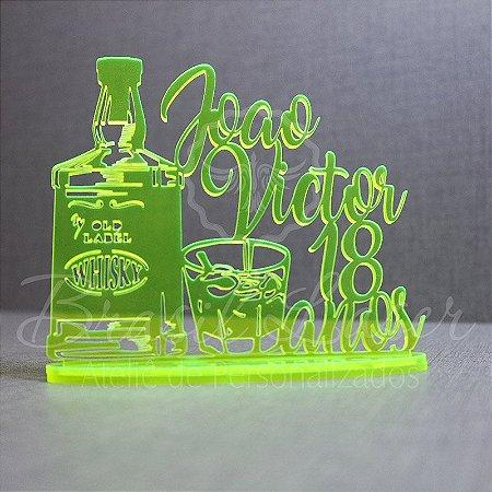 Topo de Bolo Uísque Whisky (Personalizado com Nome e Idade do Aniversariante que o Cliente Desejar) - TBV 01113A