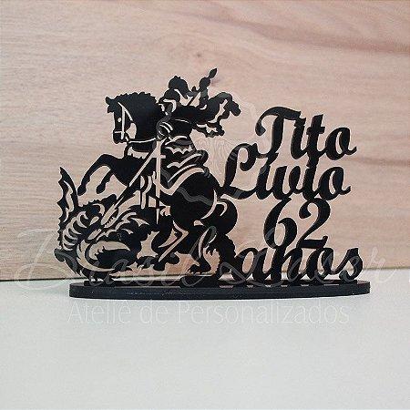 Topo de Bolo São Jorge Cavalo Dragão (Personalizado com Nome e Idade do Aniversariante que o Cliente Desejar) - TBV 01117A