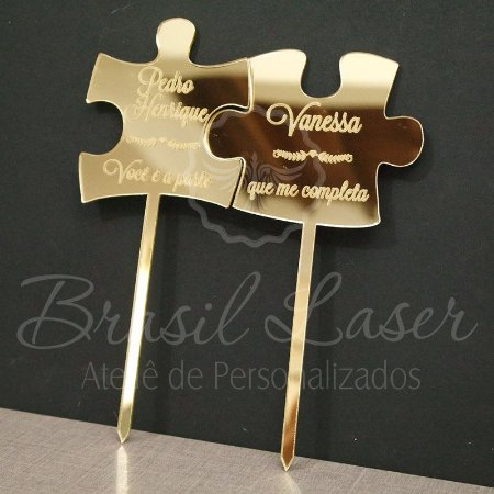 Topo de Bolo Puzzle Quebra Cabeça (Personalizado com Nomes e Frase que o Cliente Desejar) - TBV 01141A