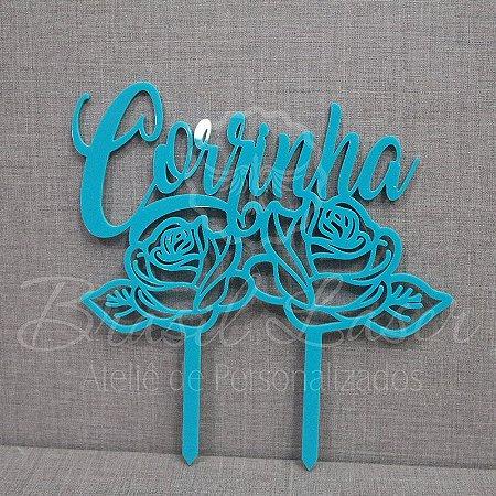 Topo de Bolo 2 Rosas (Personalizado com Nome da Aniversariante que o Cliente Desejar) - TBV 01154A