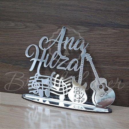Topo de Bolo Notas Musicais Violão e Guitarra (Personalizado com Nome que o Cliente Desejar) - TBV 01178A