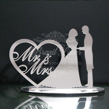 Topo de Bolo Casal Mr & Mrs Casamento Noivado Bodas - TBC 00501K