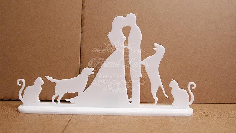 Topo de Bolo Casal com 2 Gatos e 2 Cachorros - TBC 00503E