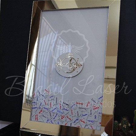 Quadro de Assinaturas Pintado com Brasão com Acrílico Espelhado Personalizado - QAB 00191A