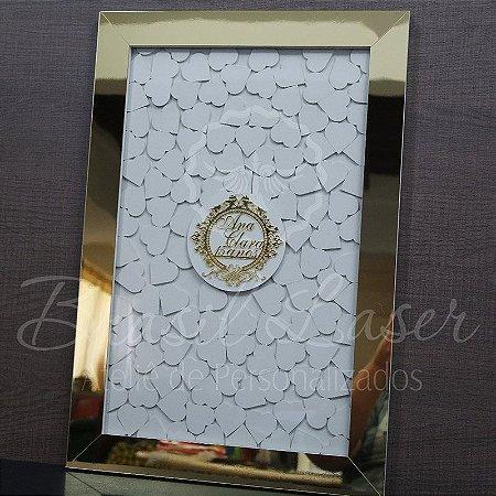 Quadro de Assinaturas Pintado com Brasão com Acrílico Espelhado Personalizado - QAB 00101E