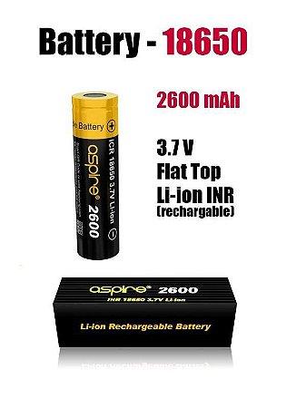 Bateria 18650 Li-Ion  3.7V 2600mAh High Drain 20A - Aspire Unitário