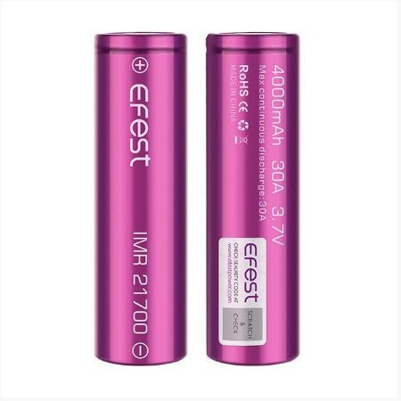 Bateria  Li-Ion Efest Purple 21700 3.7V 4000mAh High Drain 30A - UNITÁRIO