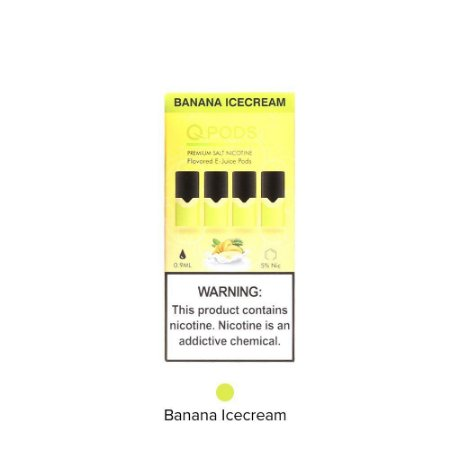 QPODS NicSalts Banana Ice Cream Cartuchos 0.9ml Compatível Com JUUL