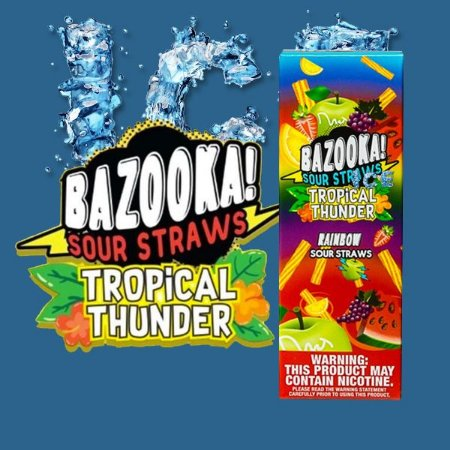 LÍQUIDO BAZOOKA SOUR STRAWS - TROPICAL THUNDER ICE - RAINBOW