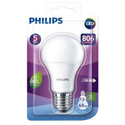 Lampada Led Philips 7,5W/8W 806 Lumens Bivolt Branca 6500K 25000H E27 Normatizad
