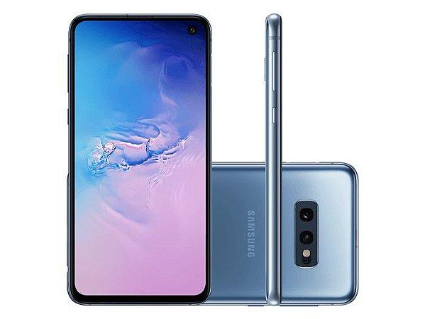 """Smartphone Samsung S10E SM-G970F/1DL, Android 9.0, Dual Chip, Processador Octa Core 2.7 GHz, Câmera Dupla Traseira 12 MP + 16 MP e Frontal 10 MP , Tela 5.8 """", Memória 128 GB e Expansível até 512GB,RAM 6GB, Rede 4G + WiFi. Azul 6GB Sim"""
