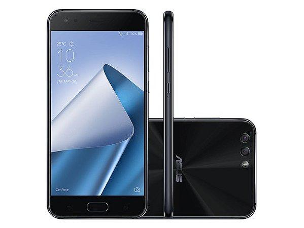 Smartphone Asus Zenfone 4 32GB , Android 7.0 Nougat, Dual chip, Processador Octa Core 2.2 GHz, Câmera traseira Dual 12 + 8 MP e frontal Dual 8 MP , Tela 5.5'' Full HD, Memória interna 32GB expansível até 2T, 4G. Preto 1