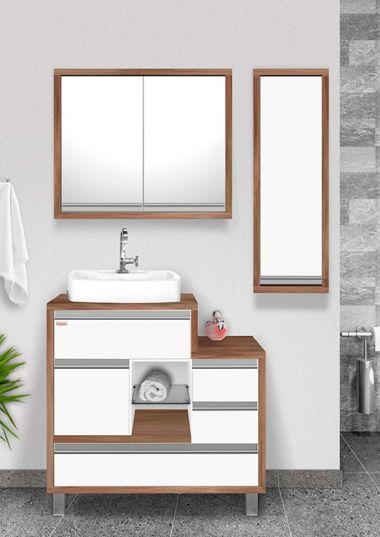 Móvel para banheiro Majestic 73 4 peças / cor: Nogal/Branco Fabribam