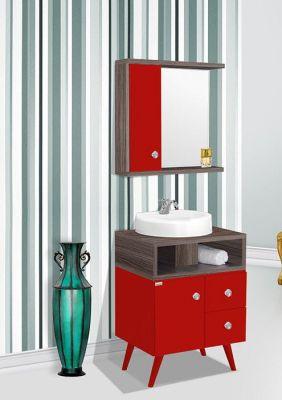 Móvel para banheiro 60cm / cor: Amêndoa/Vermelho