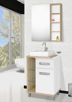 Móvel para banheiro Plazza 60cm Carvalho/Branco 3 pças