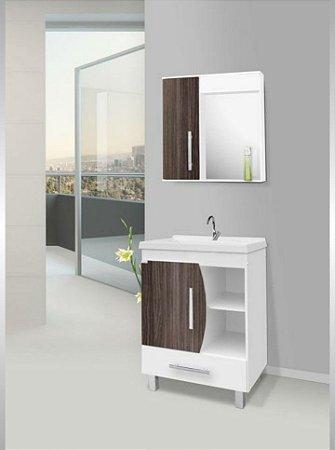 Móvel para banheiro Acordes 62cm Amêndoa/Branco