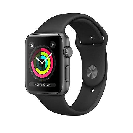 Relógio Apple Watch Sport Series 2 42mm Cinza Espacial com Pulseira Esportiva Preta, 8GB - GPS Integrado Resistente a Água