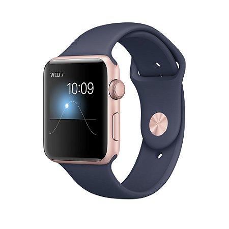 Relógio Apple Watch Sport Series 2 42mm Rose Gold com pulseira Esportiva Azul meia-noite 8GB - GPS Integrado Resistente a Água