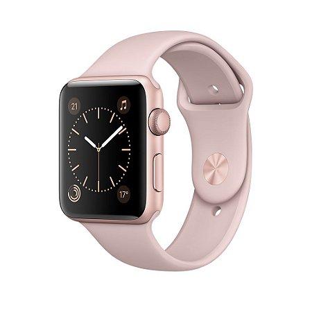 Relógio Apple Watch Sport Series 2 42mm Ouro Rosa / Rose Gold com pulseira Esportiva areia-rosa 8GB - GPS Integrado Resistente a Água