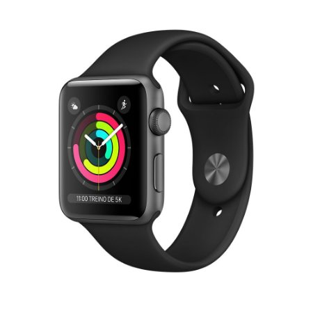 Apple Watch Serie 3 Cinza Espacial com Pulseira Esportiva Preta, 42 mm, GPS, Wi-Fi, Bluetooth e 8 GB