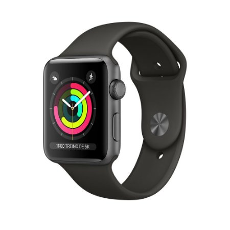 Apple Watch Serie 3 Cinza Espacial com Pulseira Esportiva Cinza-Escuro, 42 mm, GPS, Wi-Fi, Bluetooth e 8 GB