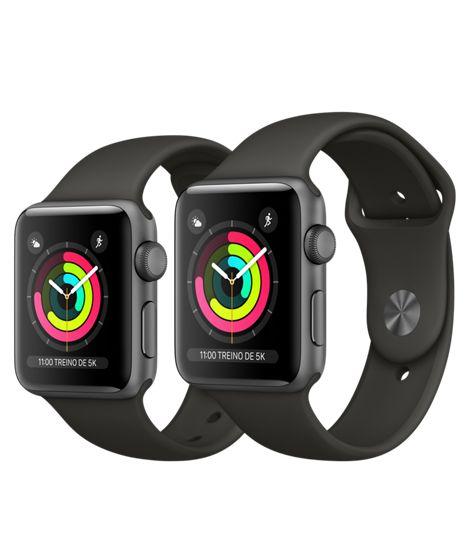 Apple Watch Serie 3 Cinza Espacial com Pulseira Esportiva Cinza-Escuro, 38 mm, GPS, Wi-Fi, Bluetooth e 8 GB