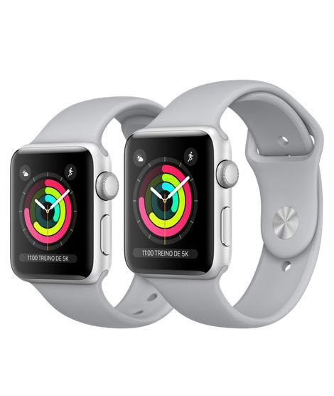 Apple Watch Serie 3 Prata com Pulseira Esportiva Cinza Névoa, 38 mm, GPS, Wi-Fi, Bluetooth e 8 GB
