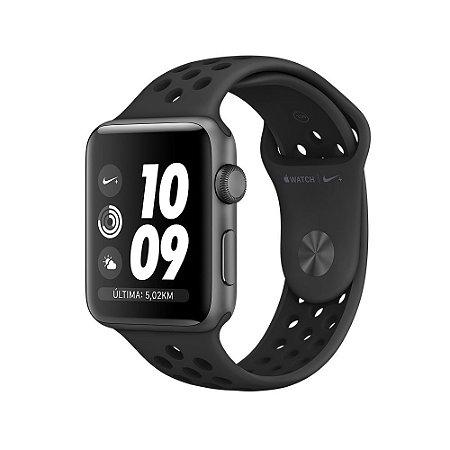 Apple Watch Séries 3 Nike+ 42 mm, GPS, Wi-Fi, 8 GB, Caixa cinza-espacial de alumínio com pulseira esportiva Nike cinza-carvão/preta