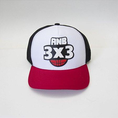 Boné ANB3X3 Snapback Aba Curva Braco/vermelho/Preto