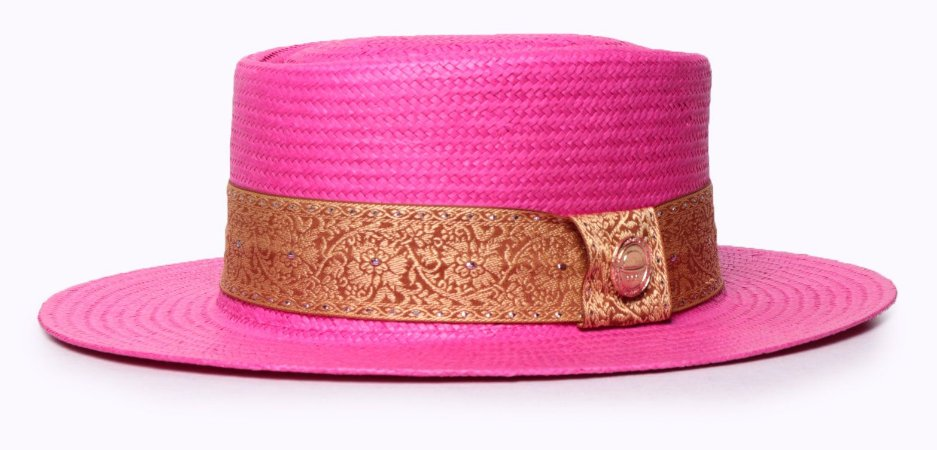 Chapéu Pork Pie Palha Shantung Rosa aba média 7cm faixa arabesco Gold Edition