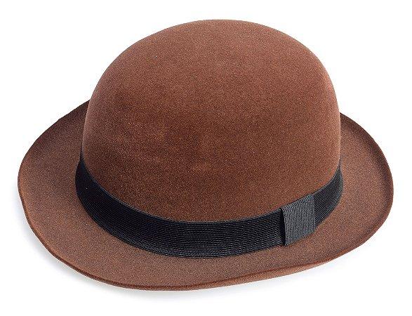 Chapéu Coco Marrom Aba 5cm Edição Veludo