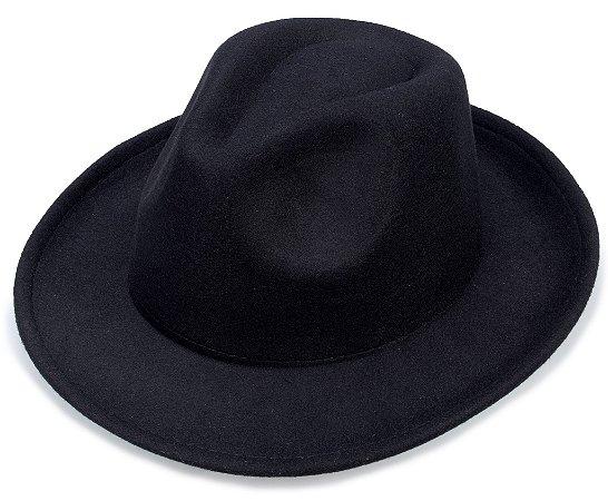 Chapéu Fedora Preto Liso Aba 6cm