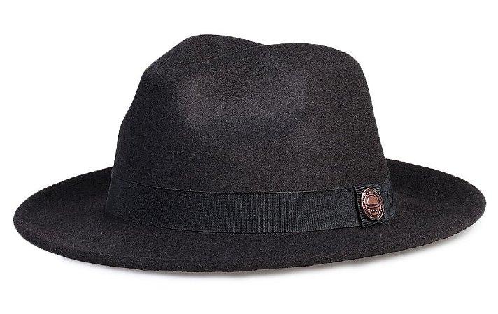 Chapéu Fedora Preto Aba Média 6,5cm Feltro Clássico