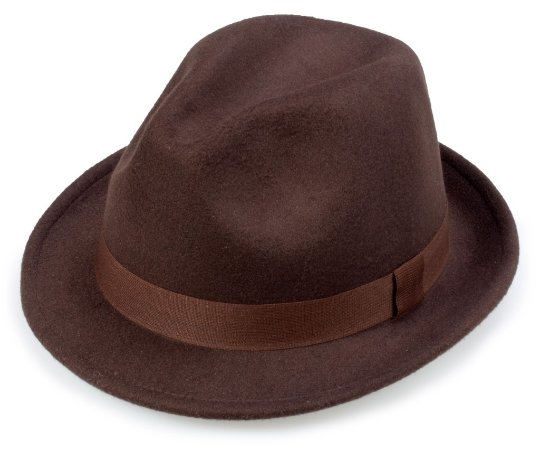 Chapéu Fedora Marrom Aba Média 4cm