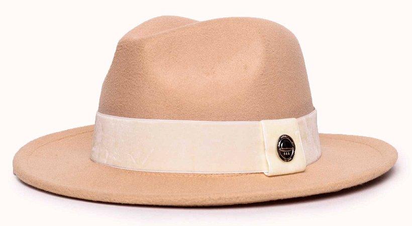 Chapéu Fedora Feltro Bege Aba Média 6,5cm Faixa Creme - Coleção Veludo