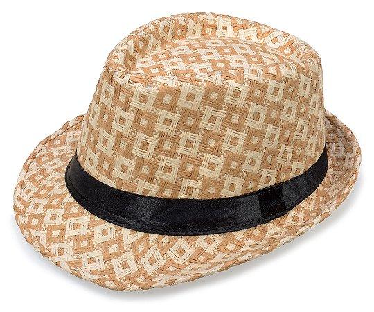 Chapéu Fedora Aba Curta Palha Bege Quadriculado